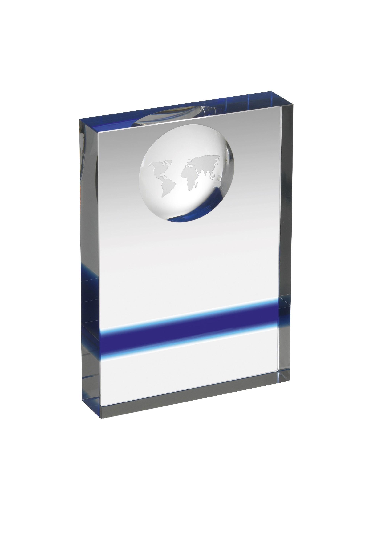 12.5cm Clear & Blue Crystal Award in Box