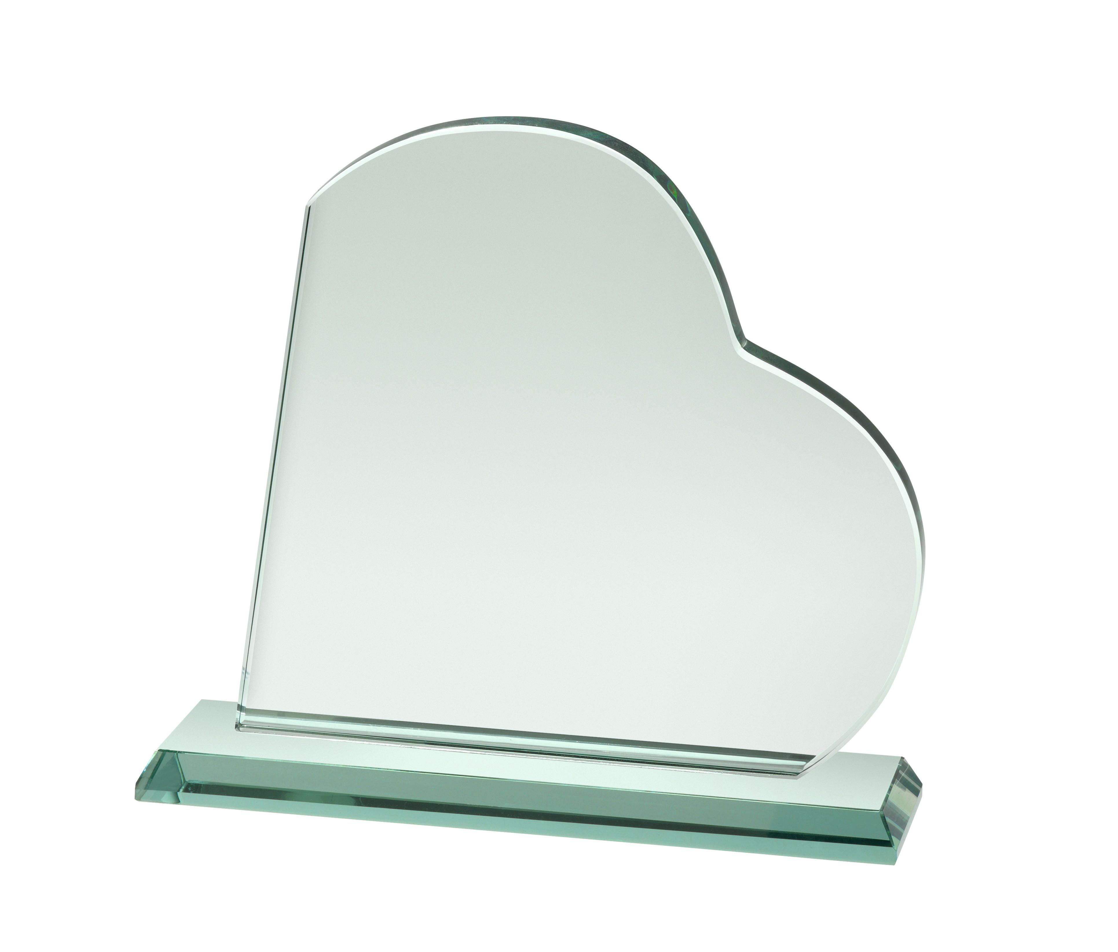 12mm Thick Jade Glass Heart Award