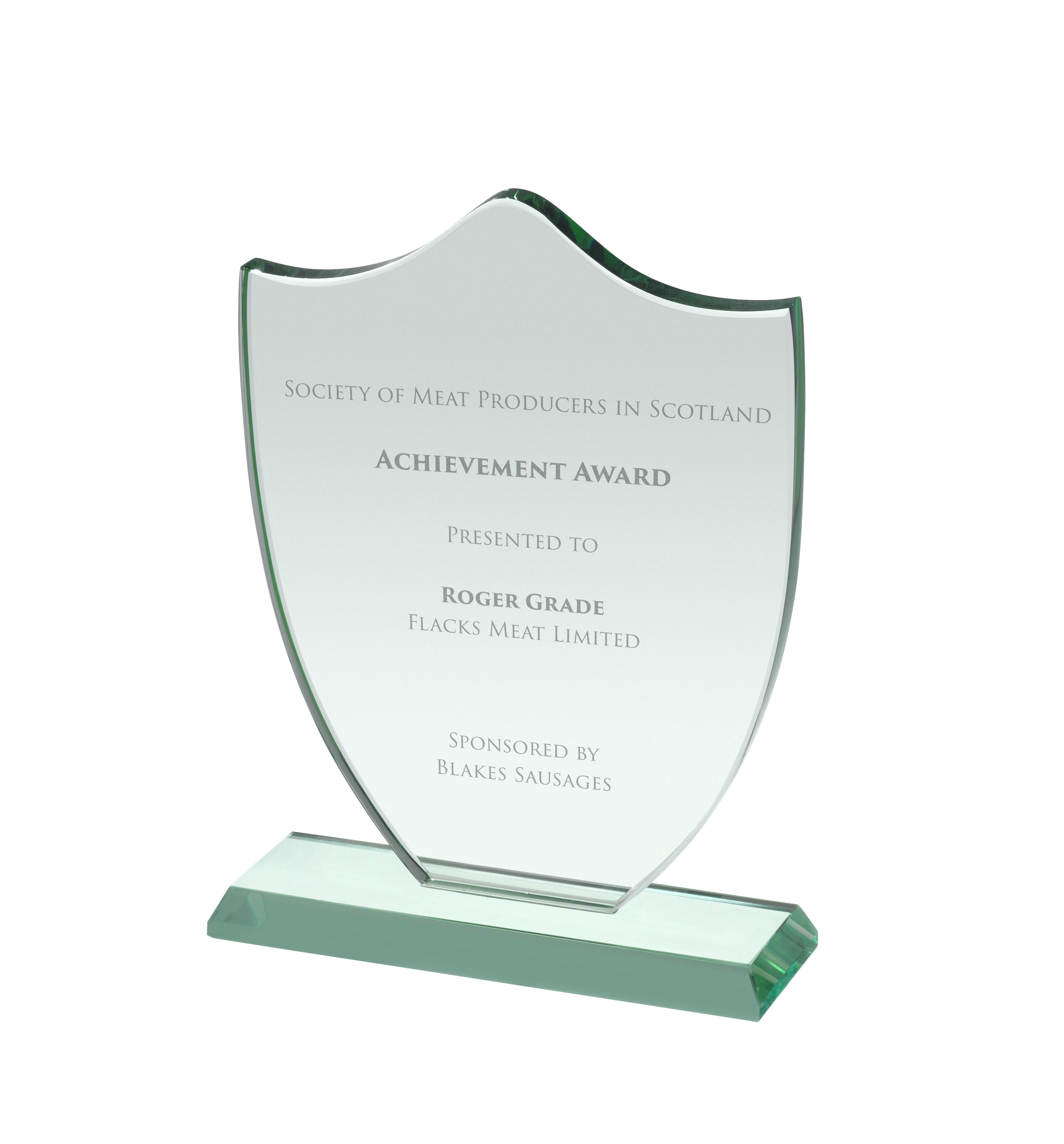 17.5cm Jade Glass Award in Box