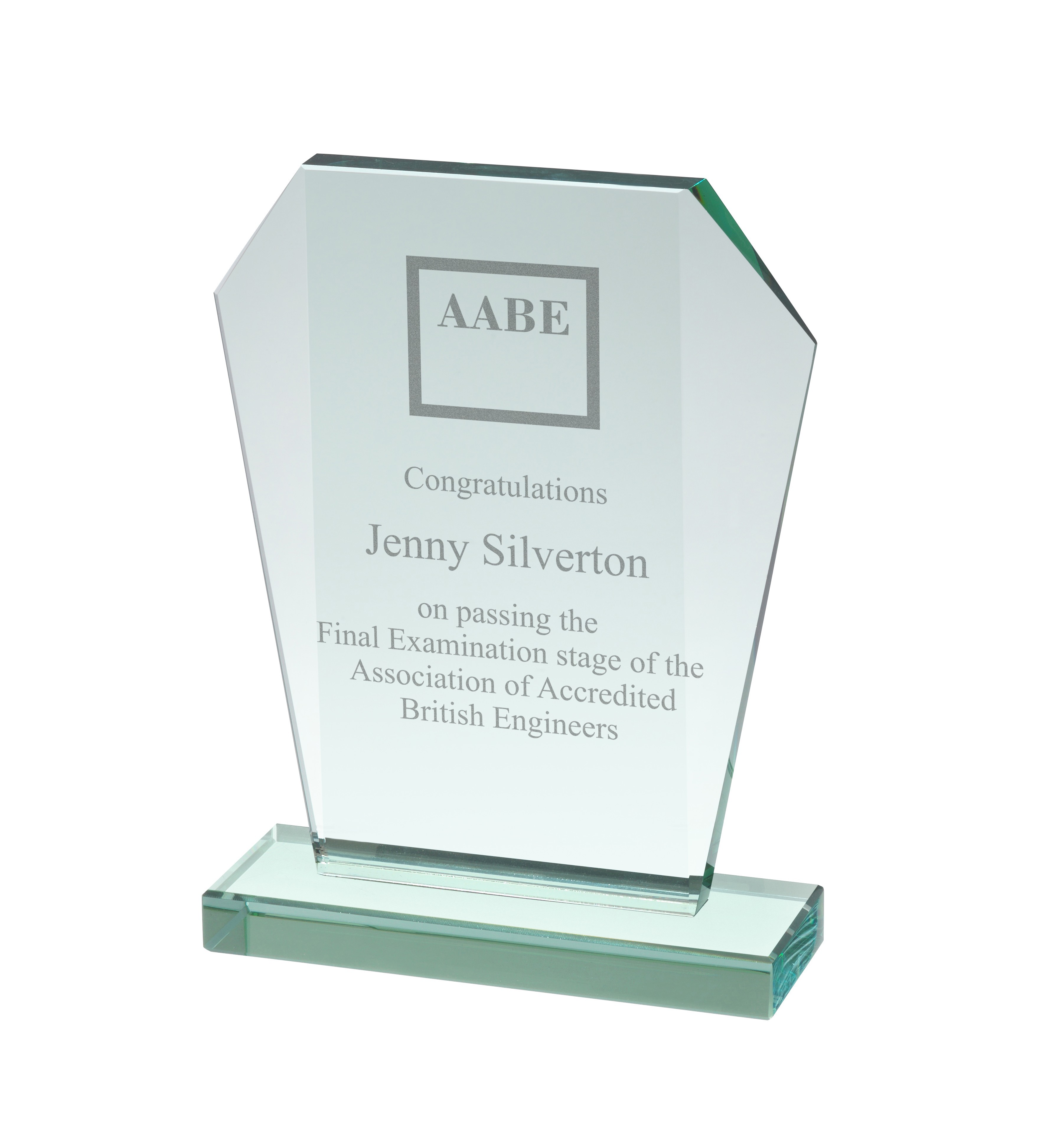 15mm Thick Jade Glass Wedge Award