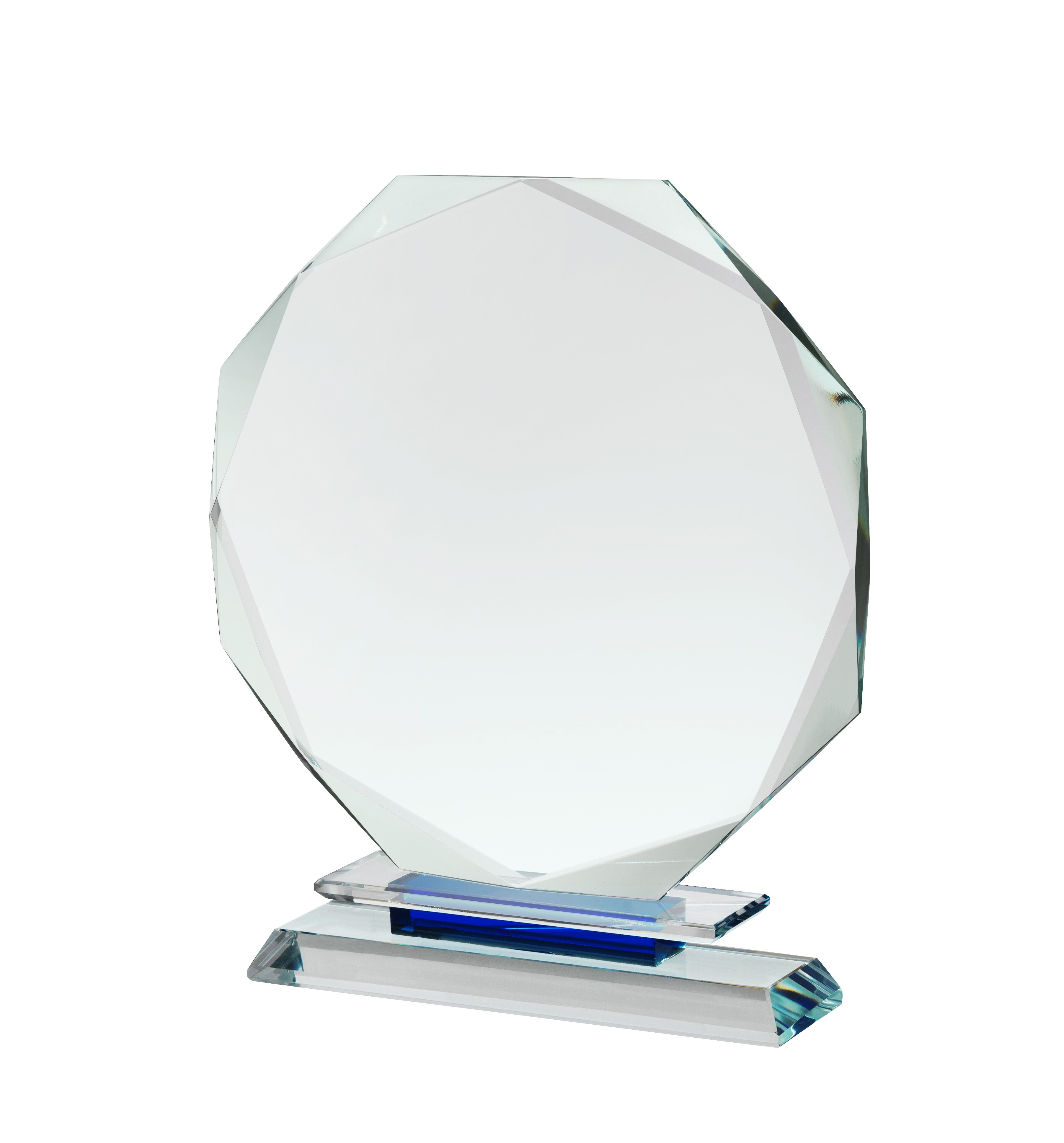 18cm Clear & Blue Crystal Award in Box