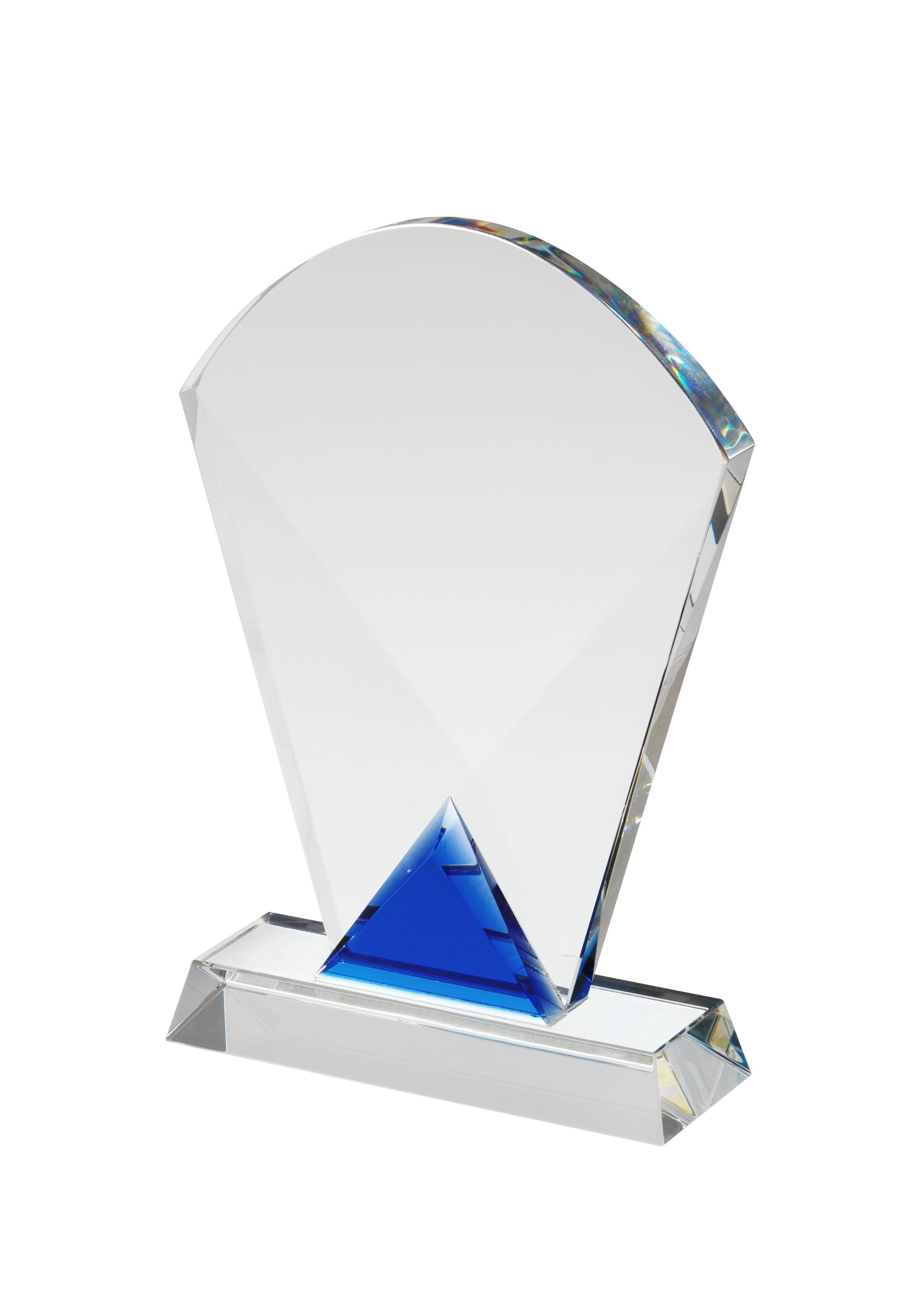 15.5cm Clear & Blue Crystal Award in Box