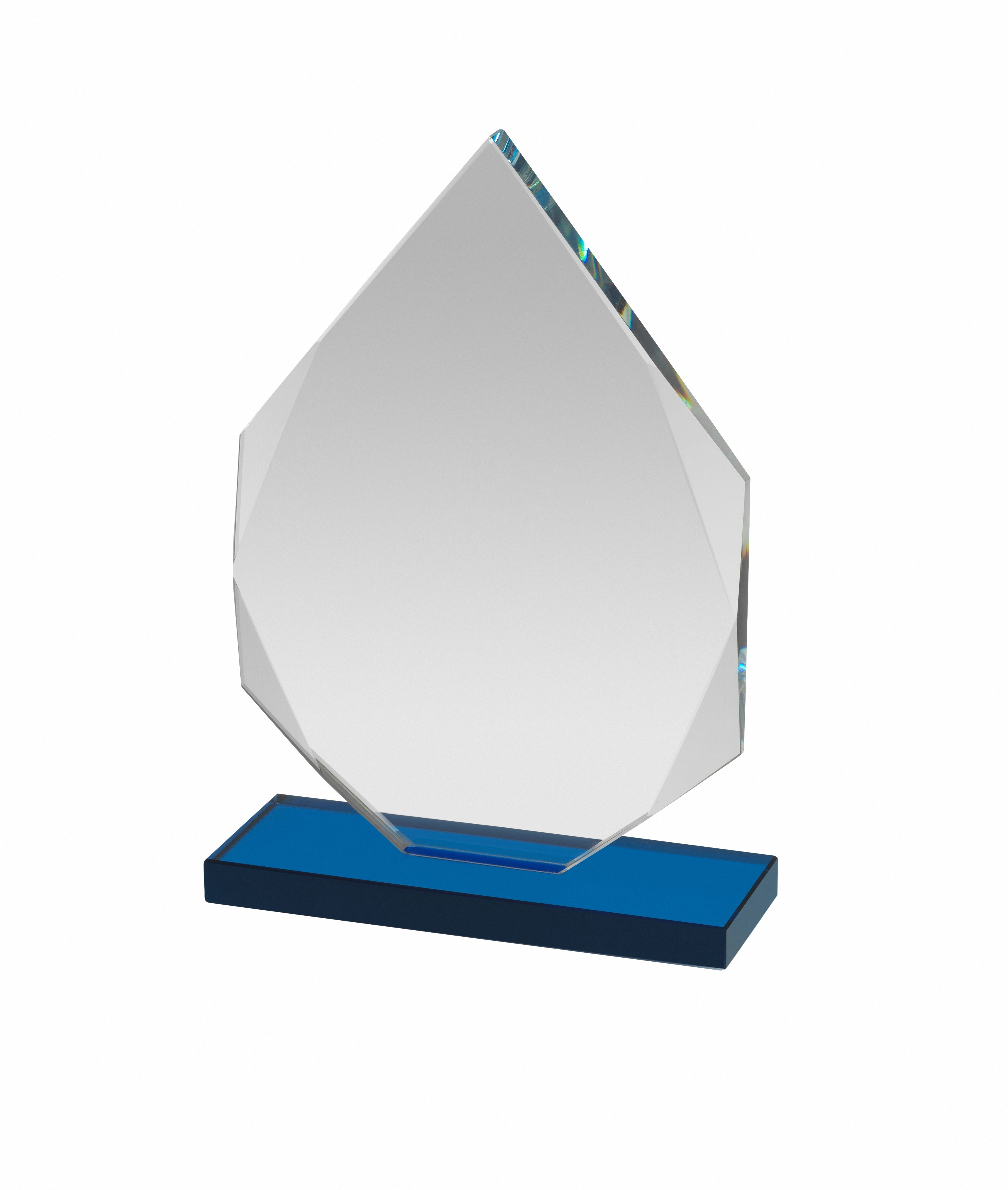 Clear & Blue Glass Diamond Award