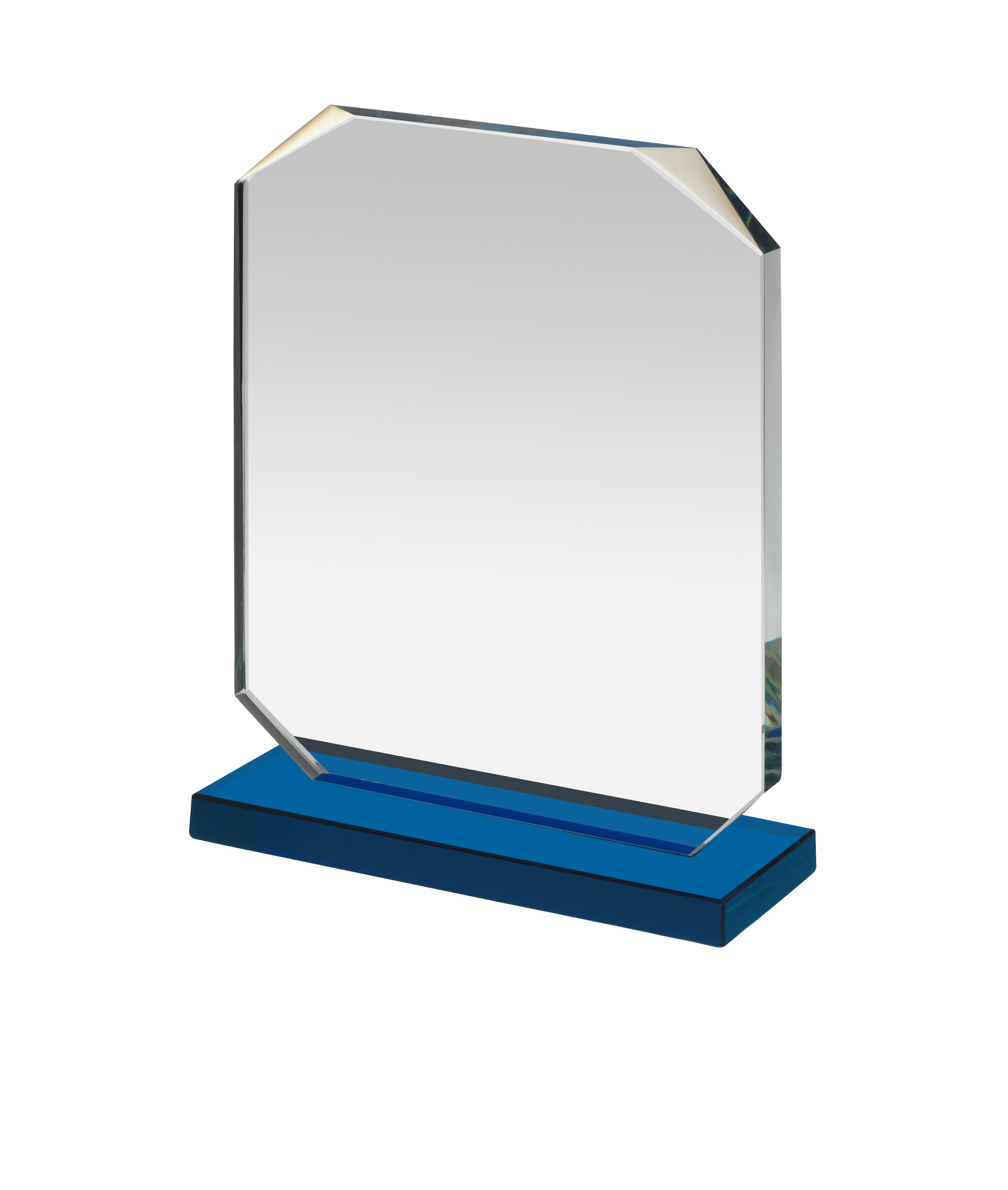 Clear & Blue Glass Rectangular Award