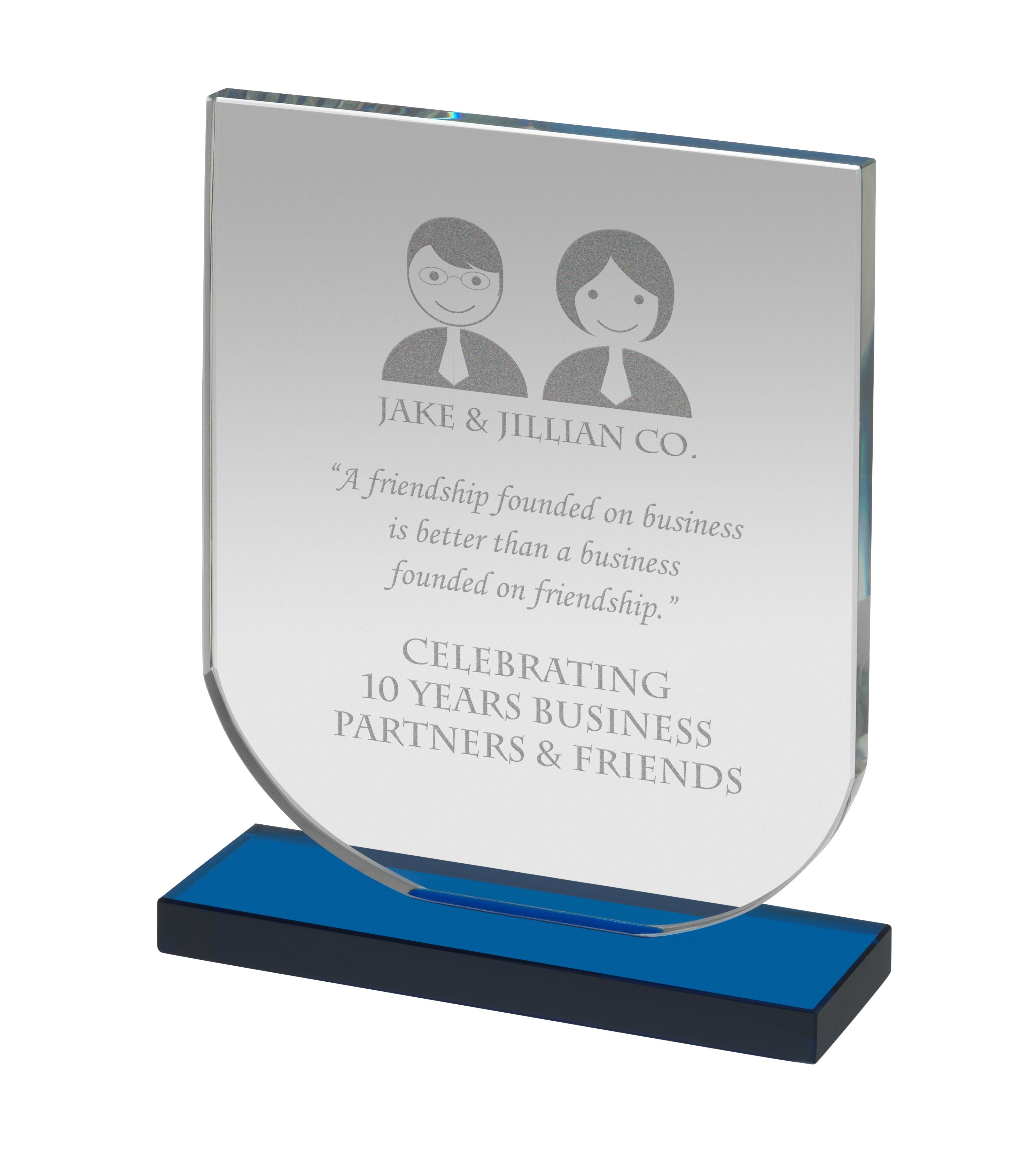 Clear & Blue Glass Curved Rectangle Award