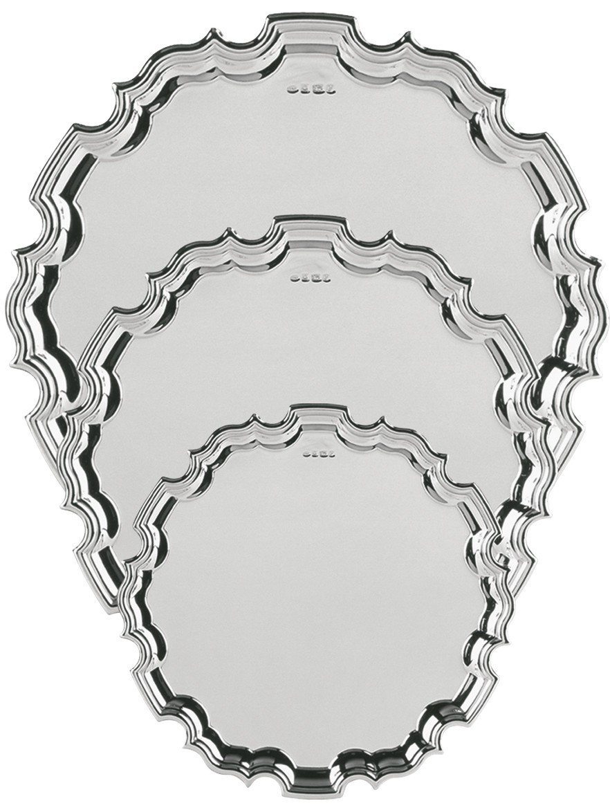20cm Silver Chippendale Tray
