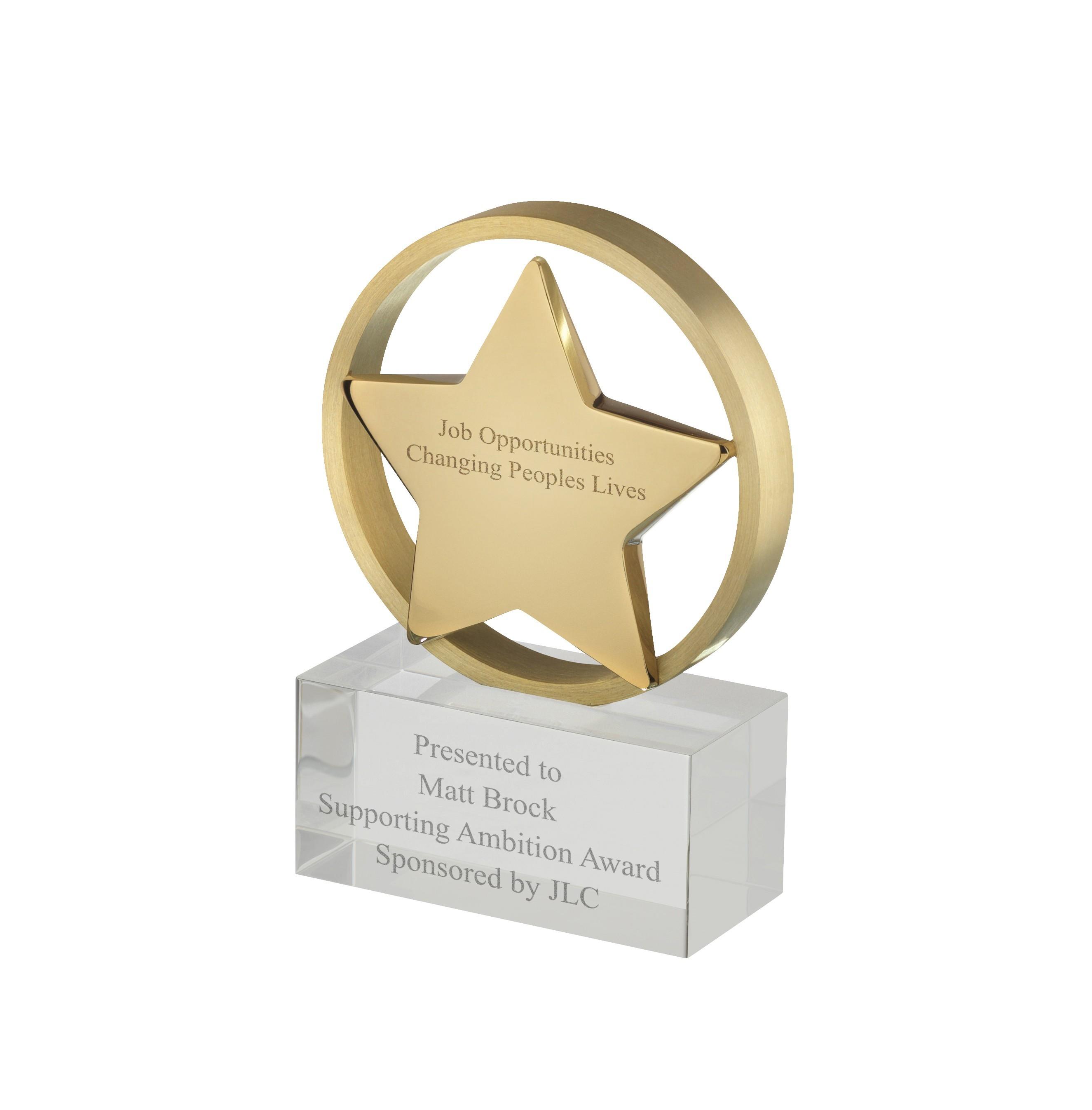 11cm Crystal Star Award in Box