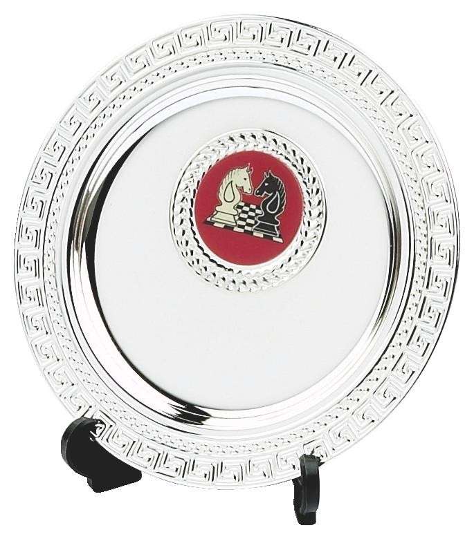 10cm Silver Salver Award On Stand With Badge