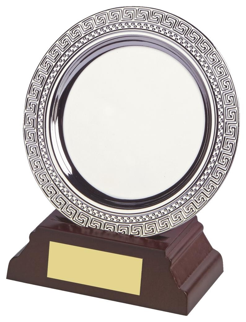 10cm Silver Salver Award On Wood Stand