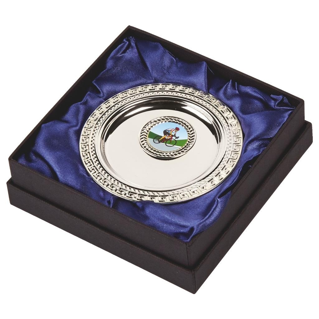 10cm Silver Plated Salver in Presentation Case