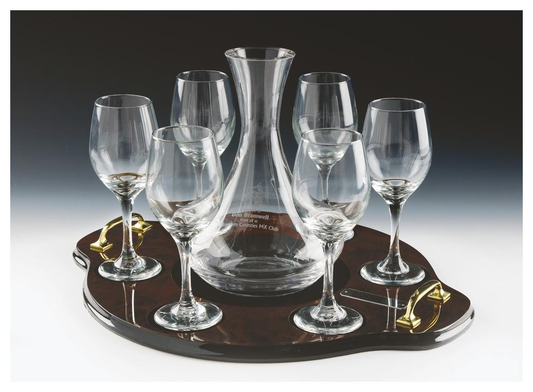 Glass Wine Decanter Set With 6 Glasses