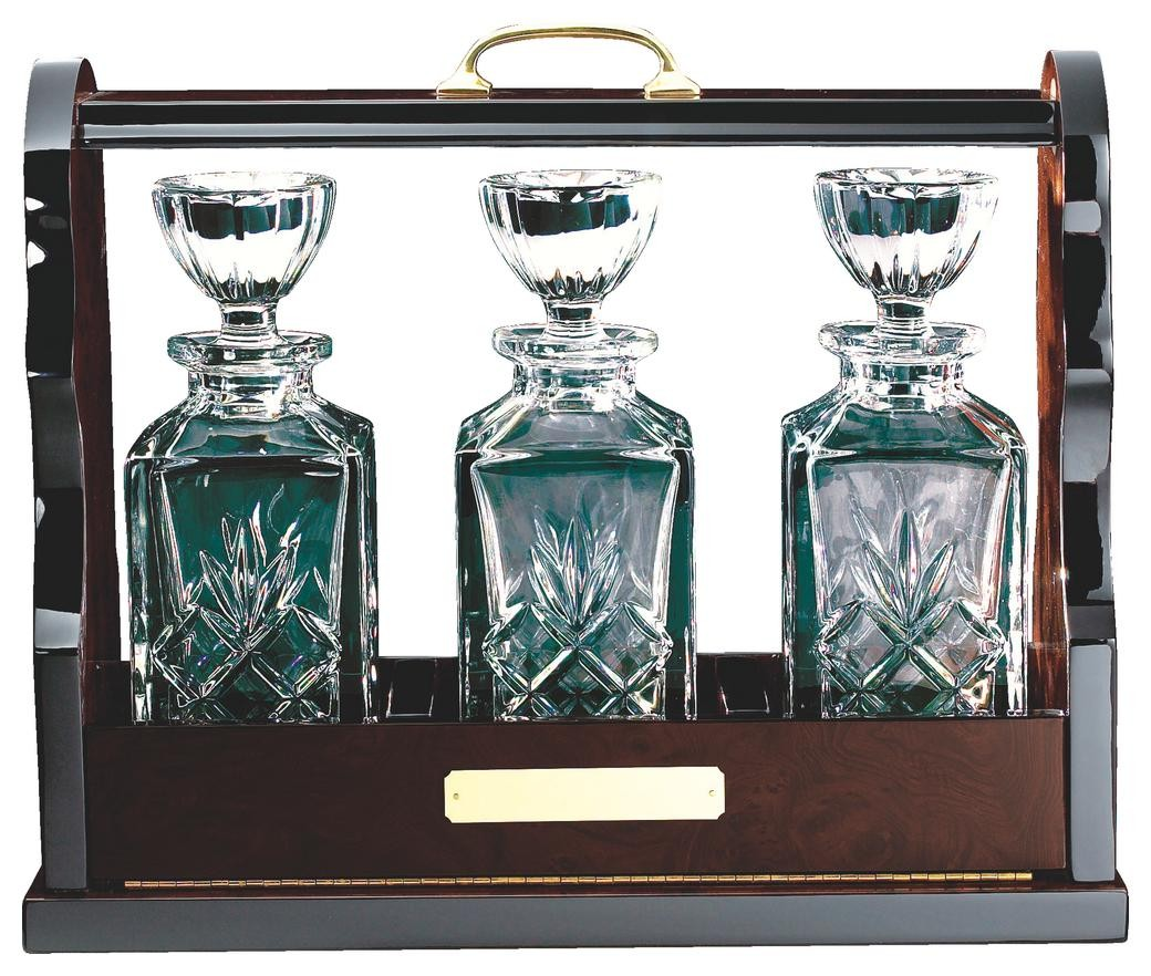 Three Crystal Decanters In Wooden Tantalus