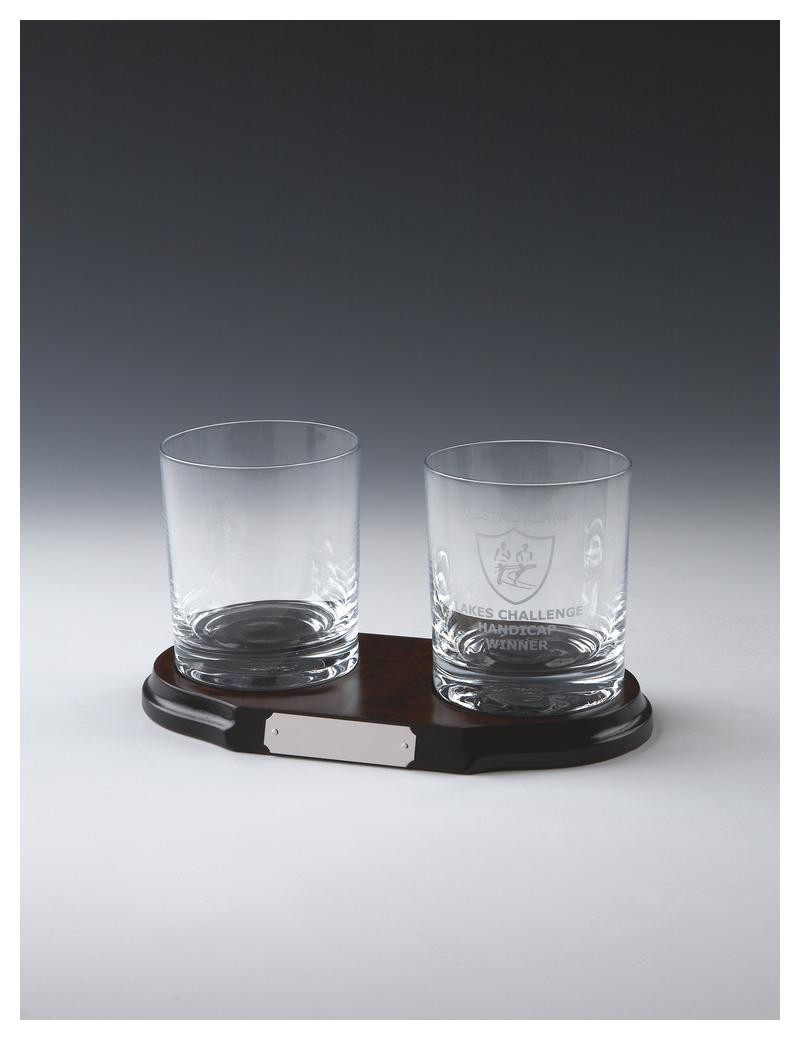 Two Glass Spirit Tumblers On Wood Stand In Clear Glass