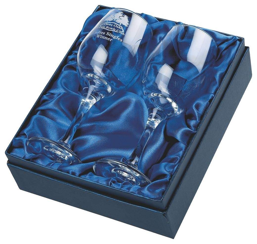 Two Wine Glasses In Presentation Case In Clear Glass
