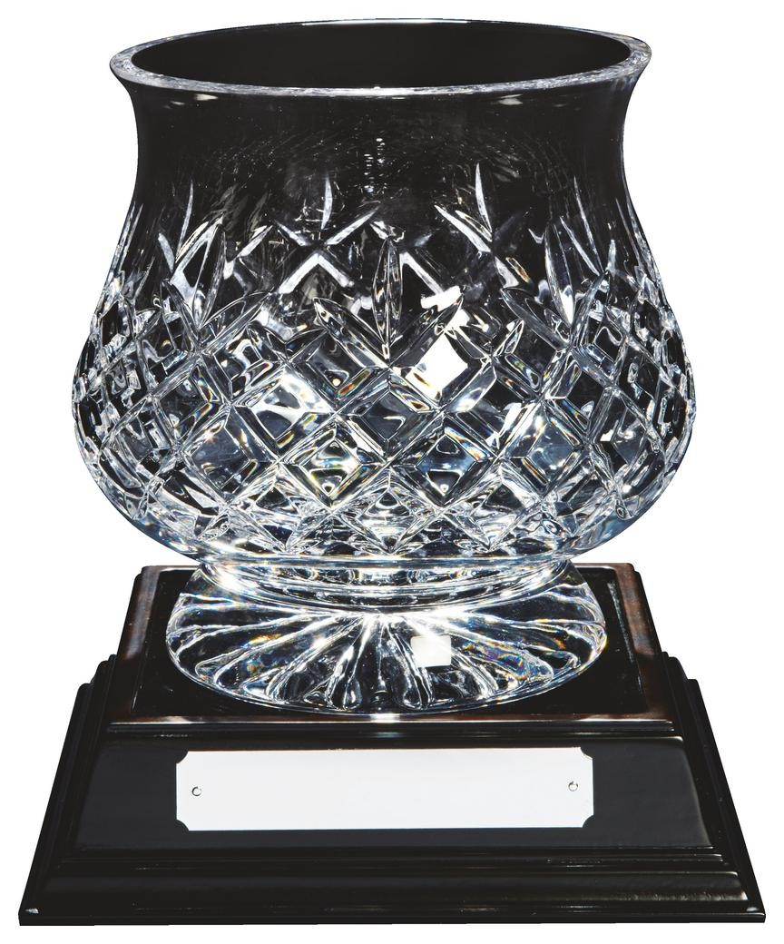 20cm Lead Crystal Bowl Award- with Base Free Engraving