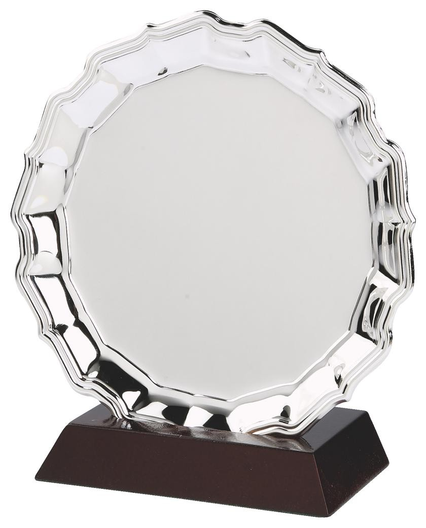 20cm Heavy Nickel Plated Salver Award On Wood Stand