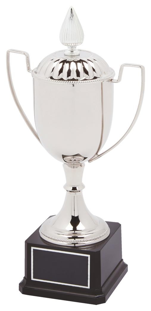 33cm Nickel Plated Trophy Cup With Lid