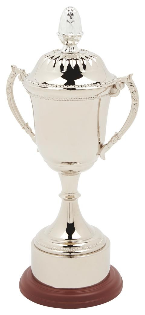 40cm Nickel Plated Trophy Cup With Plinth Band & Lid