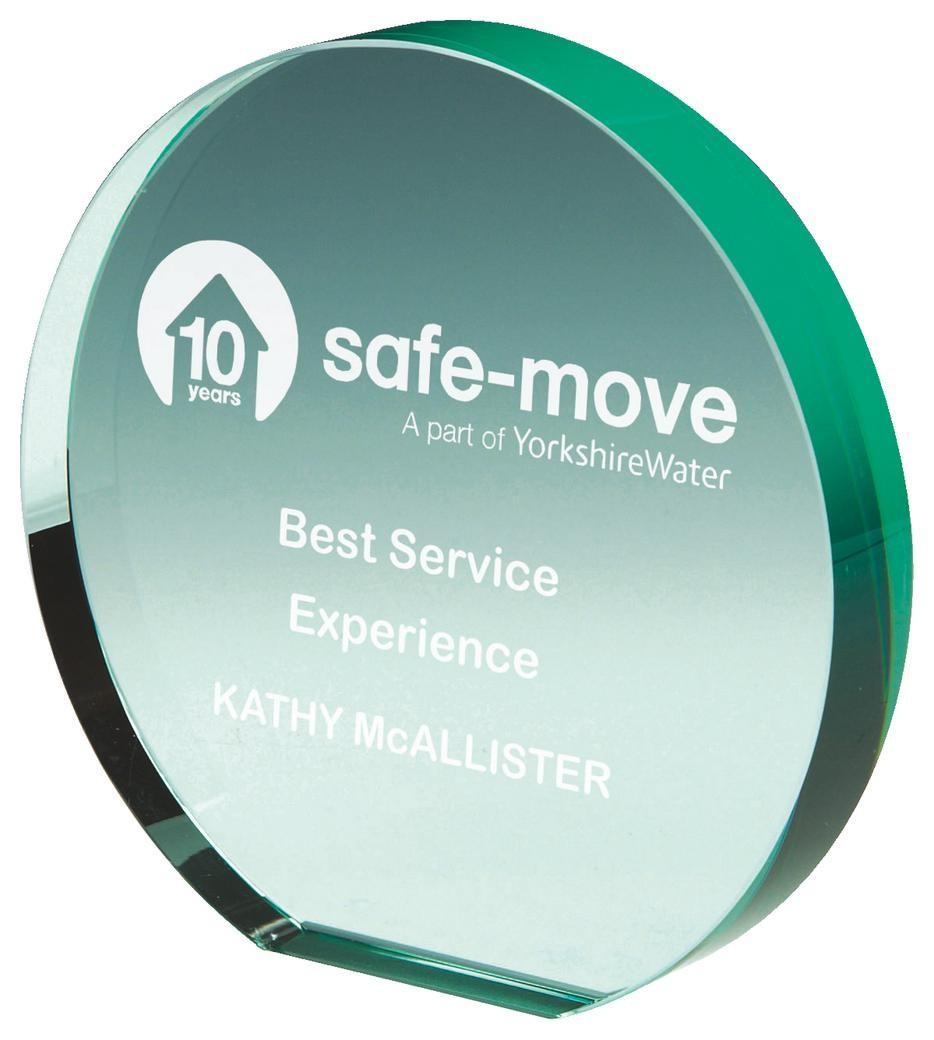 12.5cm Jade Glass Circle Award
