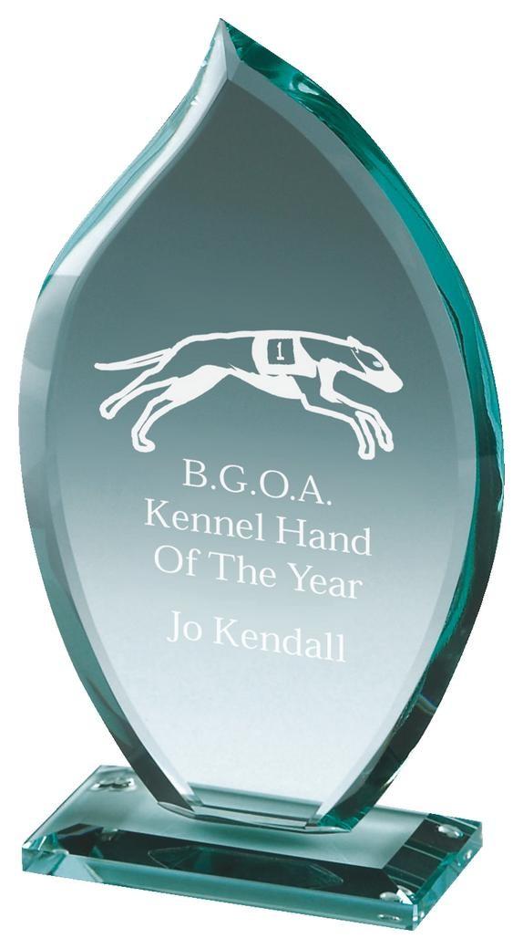 15.5cm Jade Glass Flame Award