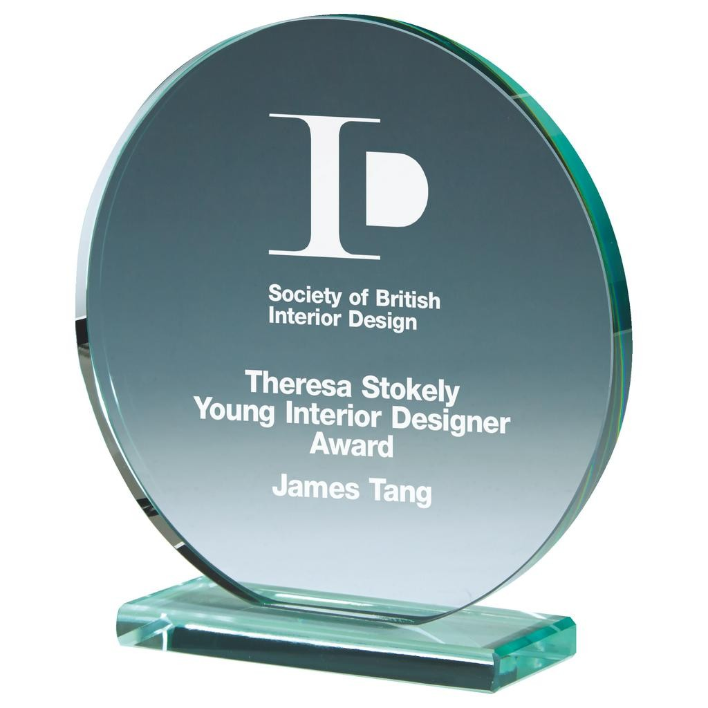Round Jade Glass Upright Award