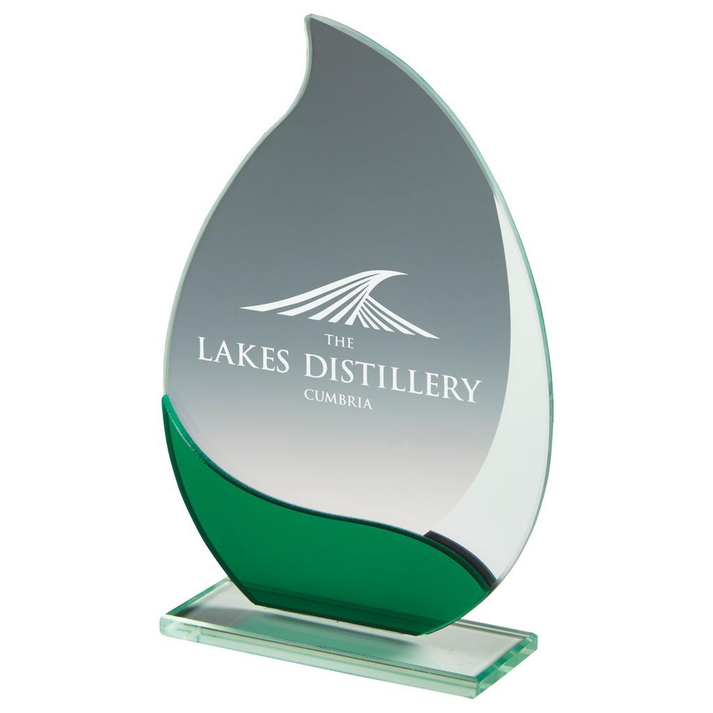 Jade Glass Teardrop Award - Available in 3 sizes