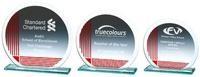 13cm Silver/Red Circular Jade Glass Award