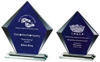 16cm Clear/Blue Glass Diamond Stand Award