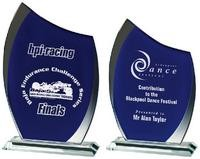 21cm Clear/Blue Glass Curve Award