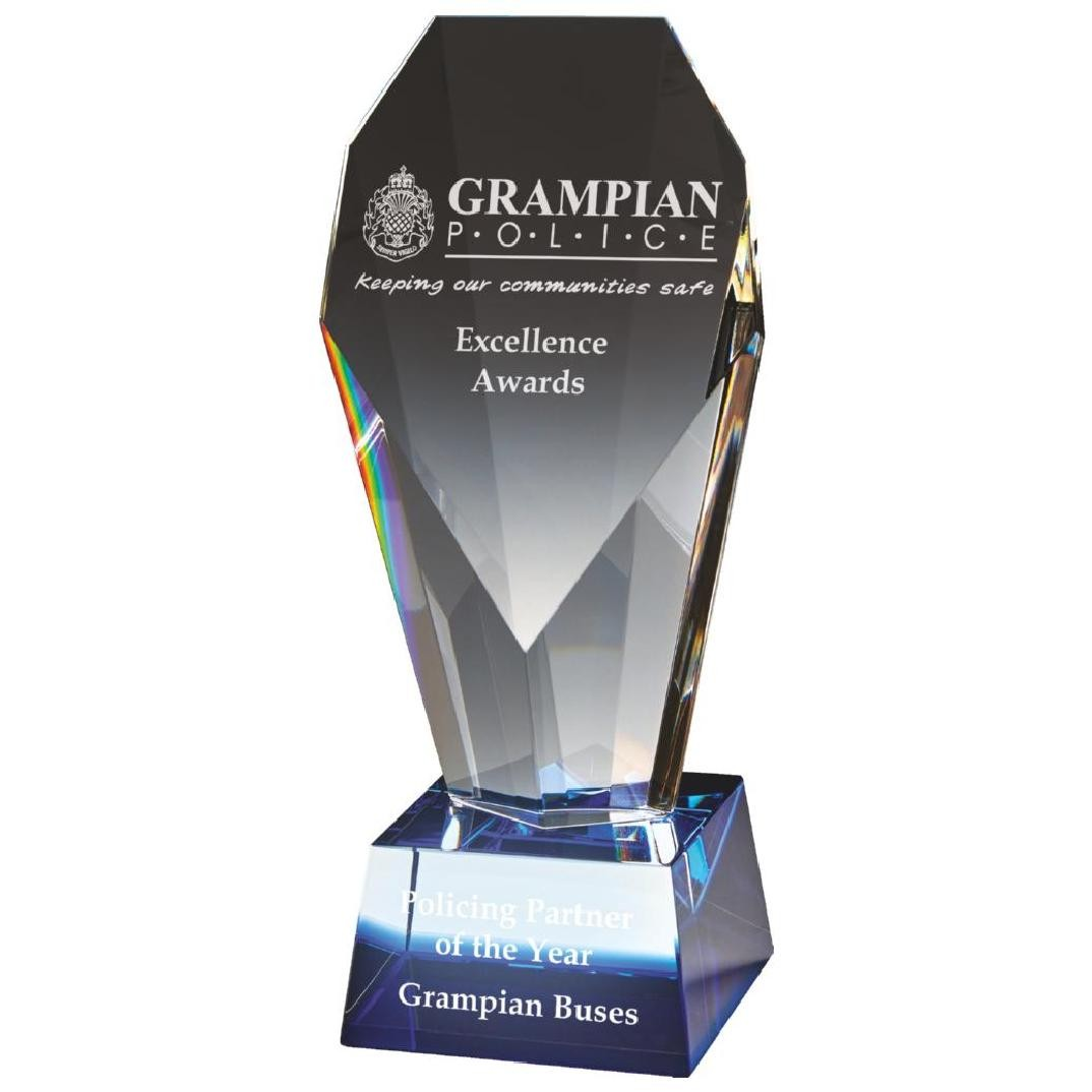 19cm Sloping Diamond Column award with Blue Base