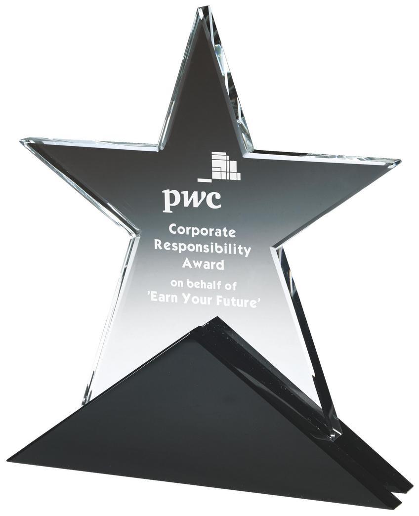18cm Crystal Star Award On Black Base