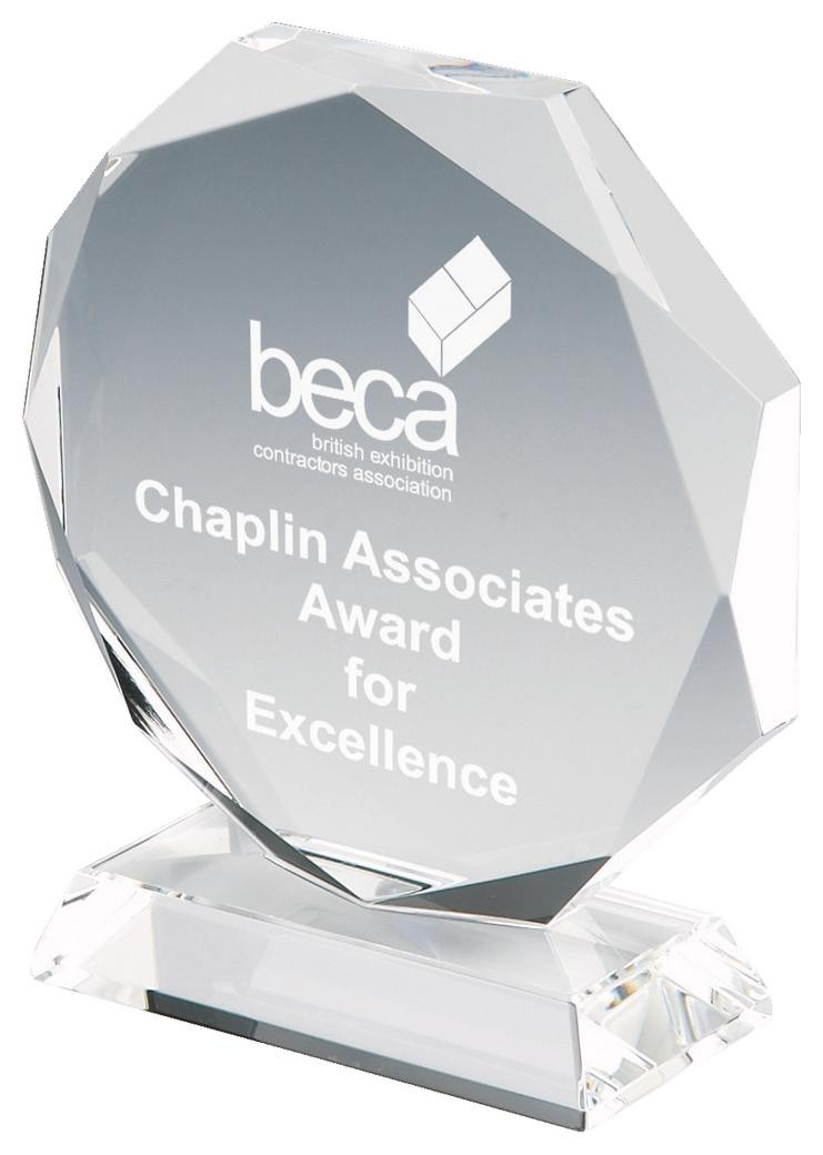 12cm Crystal Octagon Award