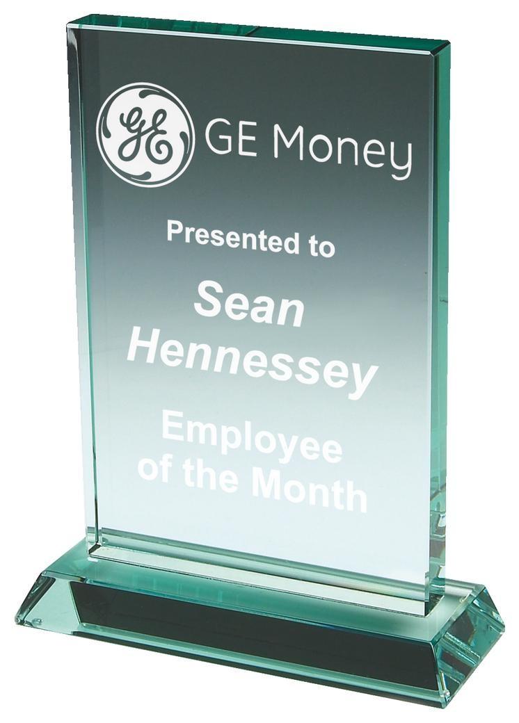 12cm Jade Glass Rectangle Award