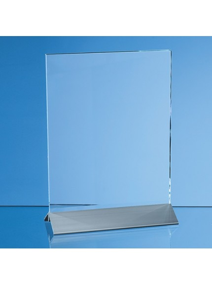 Clear Glass Rectangle on an Aluminium Base