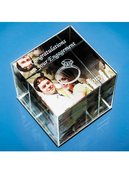 6cm Optical Crystal Cube Photo Frame - holds 3 Photos