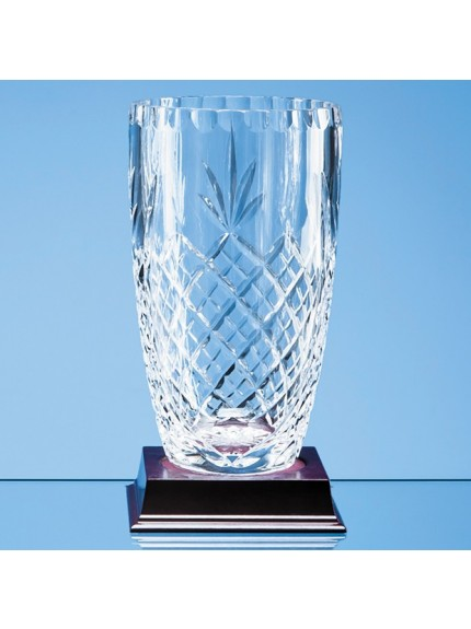 Lead Crystal Panelled Barrel Vase