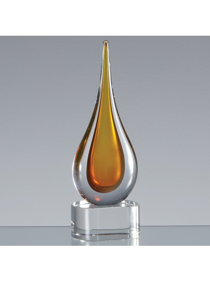 18cm Handmade Crystal Golden Teardrop Award