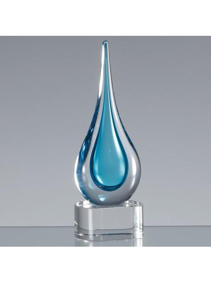 18cm Handmade Crystal Turquoise Blue Teardrop Award