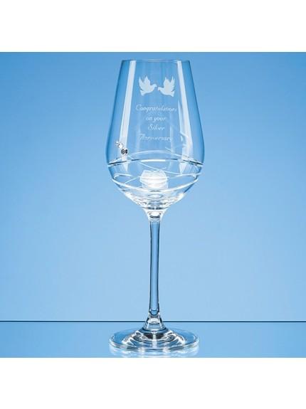 Single Diamante Wine Glass with Modena Spiral Cutting