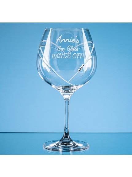 610ml 'Just For You' Diamante Gin Glass with Heart Shaped Cutting