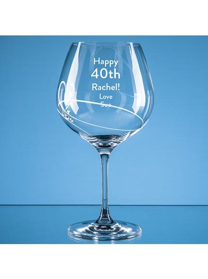 610ml Diamante Petit Gin Glass with Heart Design