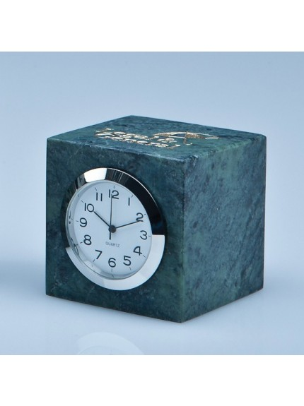 Green Marble Bevel Edged Cube Clock*