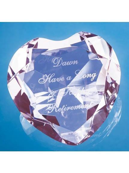 8cm Optical Crystal Pink Facet Heart Paperweight