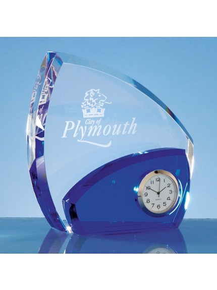 13.5cm Optical Crystal Clear and Sapphire Blue Clock
