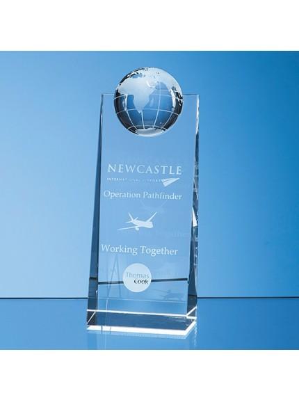 Optical Crystal Globe Rectangle Award