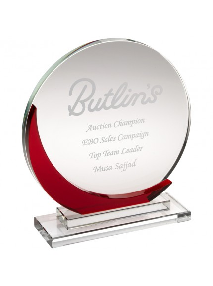 Clear Glass Round Plaque With Red Accent (10 mm Thick)