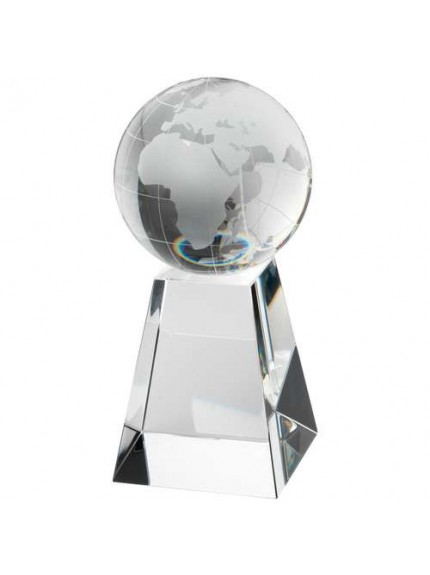 Clear Glass Globe On Pyramid Base - Available in 2 Sizes
