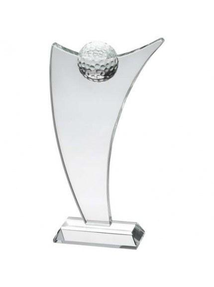 Clear Glass Sail Plaque With Half Golf Ball - Available in 3 Sizes