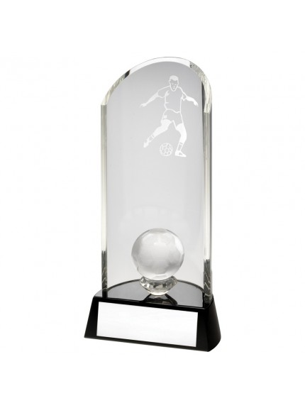 Clear Glass Football Lasered Curve Column With Ball On Black Base Trophy