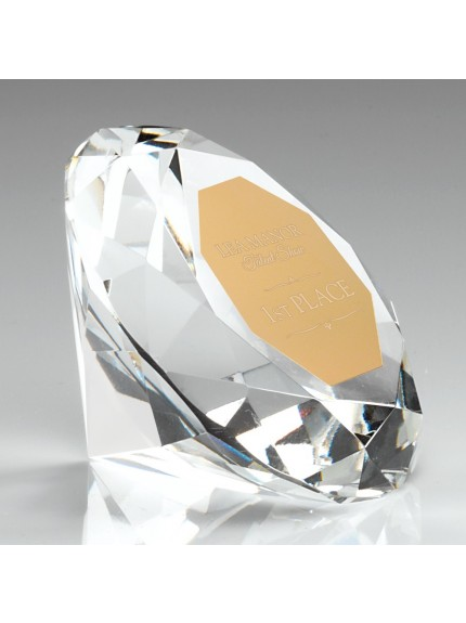 Clear Glass Diamond Paperweight Trophy